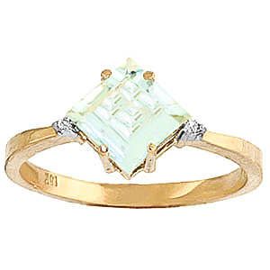 Aquamarine & Diamond Princess Ring in 9ct Gold