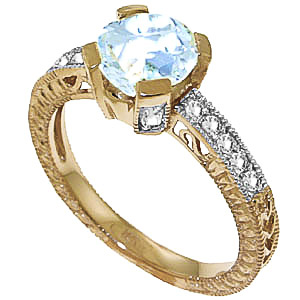 Aquamarine & Diamond Renaissance Ring in 9ct Gold