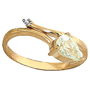 Aquamarine & Diamond Top & Tail Ring in 9ct Gold