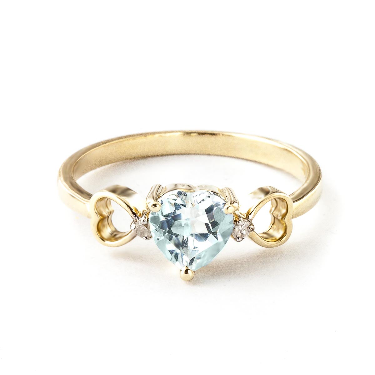 Aquamarine & Diamond Trinity Ring in 18ct Gold