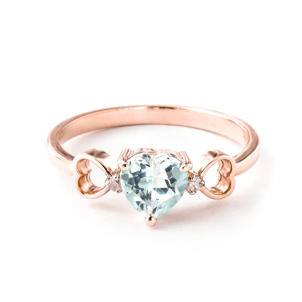 Aquamarine & Diamond Trinity Ring in 9ct Rose Gold
