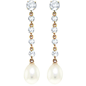 Aquamarine & Pearl by the Yard Drop Earrings in 9ct Gold