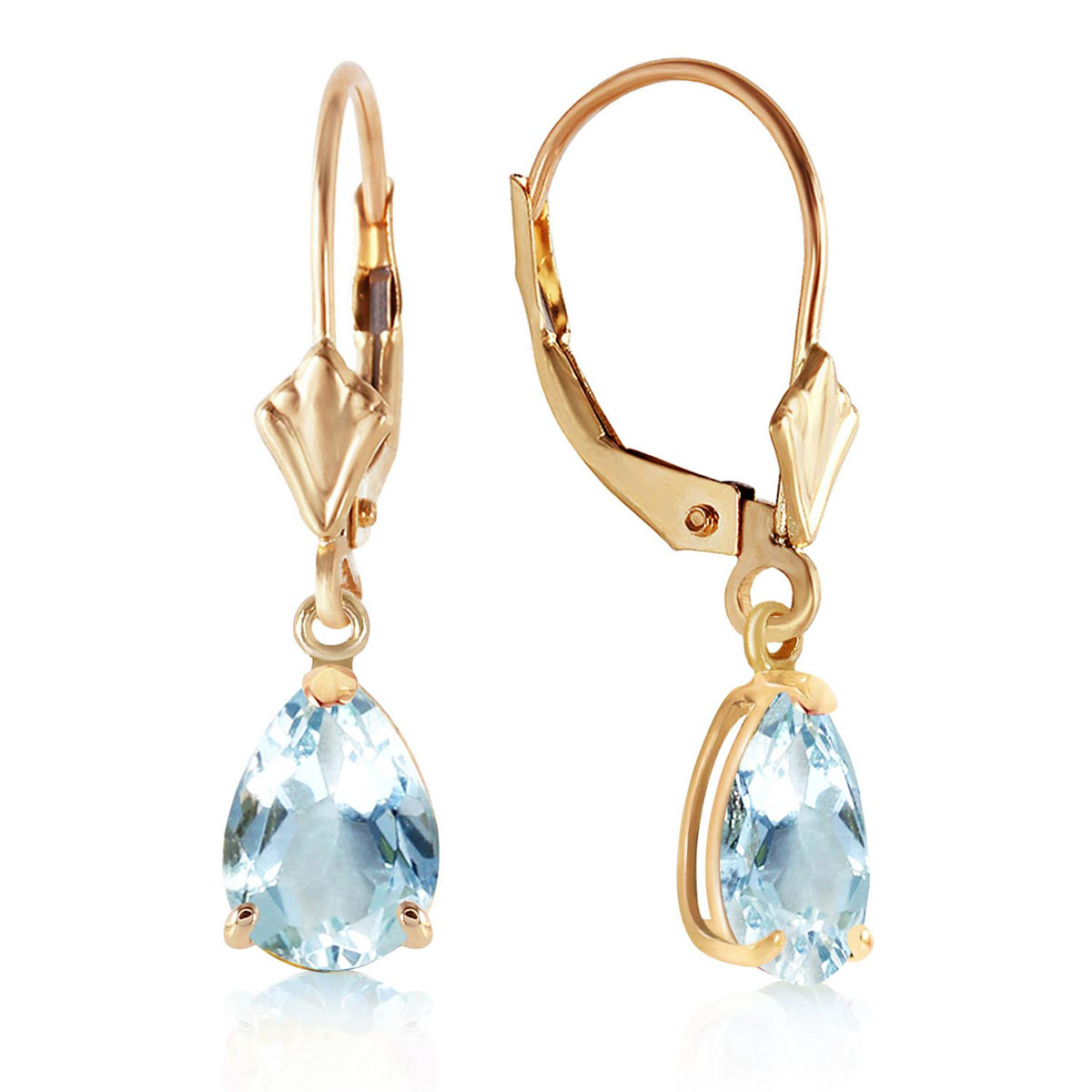 Aquamarine Belle Drop Earrings 2.85 ctw in 9ct Gold