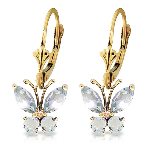 Aquamarine Butterfly Drop Earrings 0.85 ctw in 9ct Gold