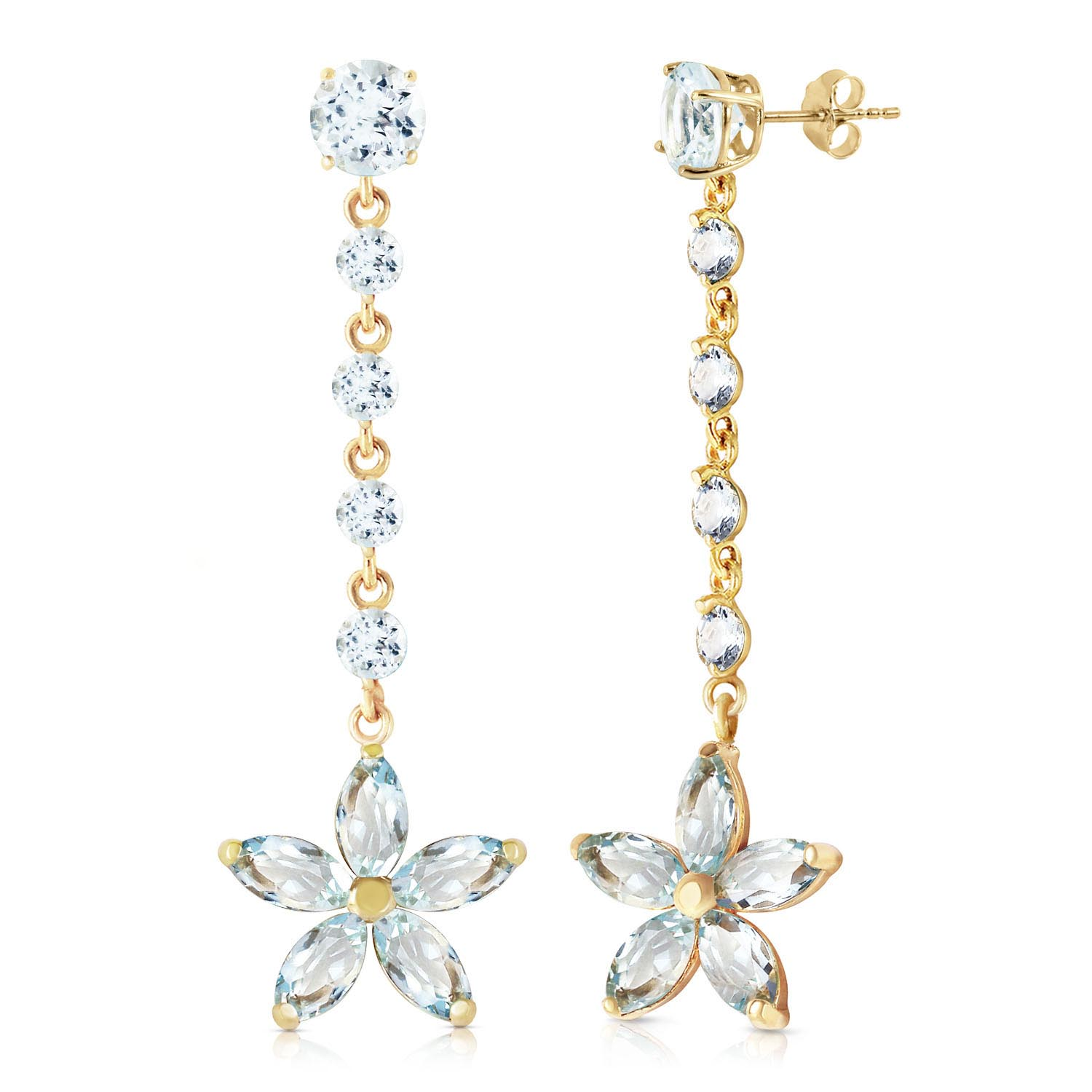 Aquamarine Daisy Chain Drop Earrings 4.8 ctw in 9ct Gold