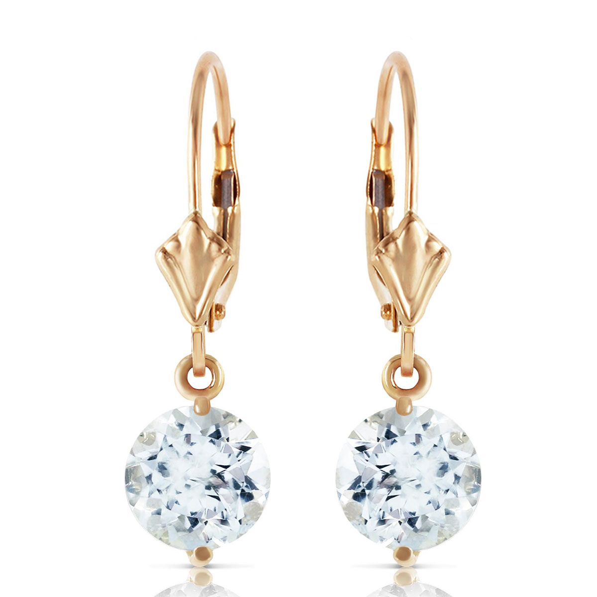 Aquamarine Drop Earrings 3.1 ctw in 9ct Gold