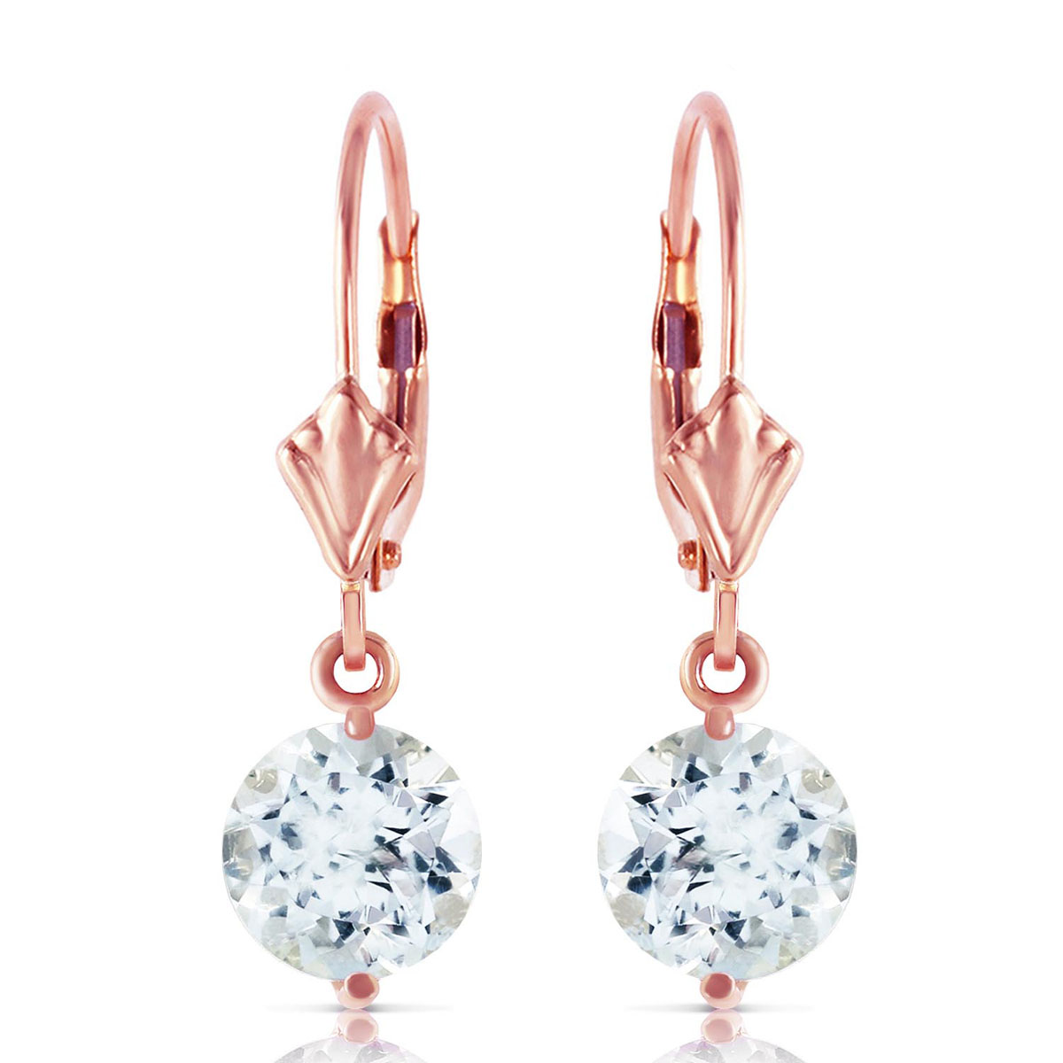 Aquamarine Drop Earrings 3.1 ctw in 9ct Rose Gold