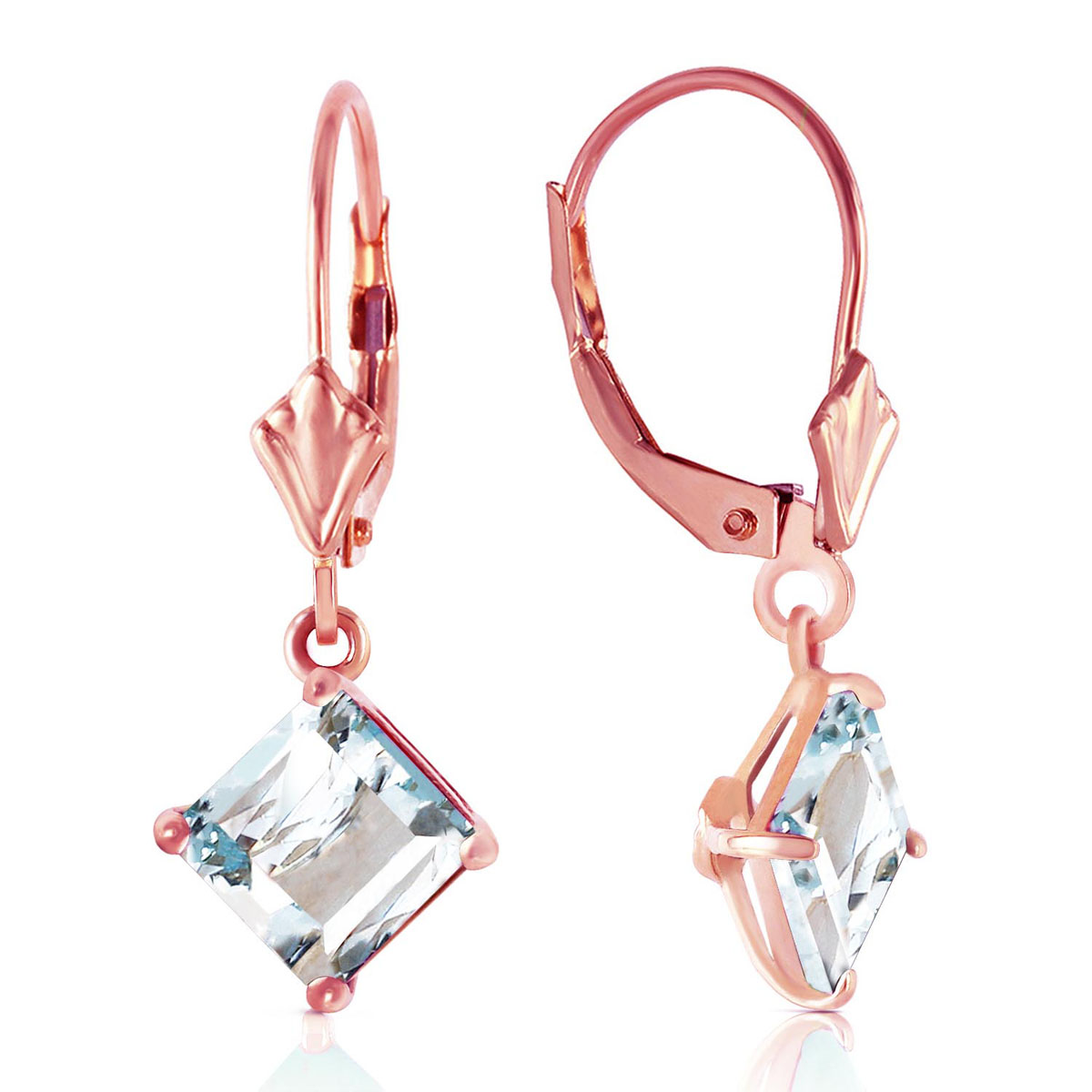 Aquamarine Drop Earrings 3.2 ctw in 9ct Rose Gold