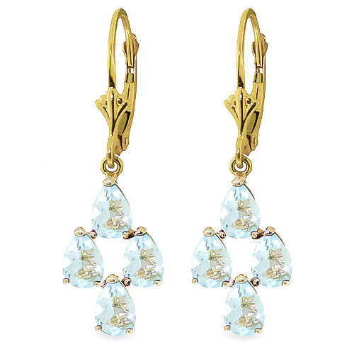 Aquamarine Drop Earrings 3.9 ctw in 9ct Gold
