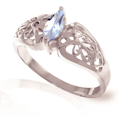 Aquamarine Filigree Ring 0.2 ct in 18ct White Gold