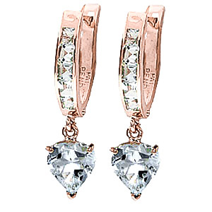 Aquamarine Huggie Earrings 4.1 ctw in 9ct Rose Gold