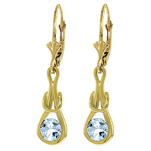 Aquamarine San Francisco Drop Earrings 1.3 ctw in 9ct Gold