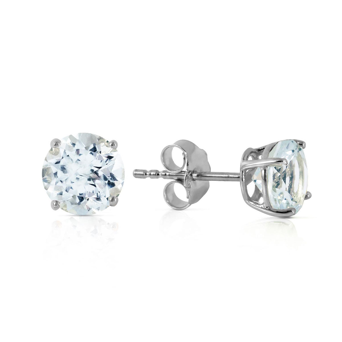 Aquamarine Stud Earrings 0.95 ctw in 9ct White Gold