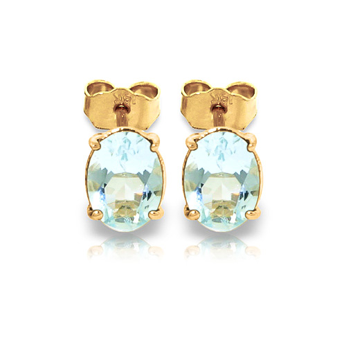 Aquamarine Stud Earrings 1.8 ctw in 9ct Gold