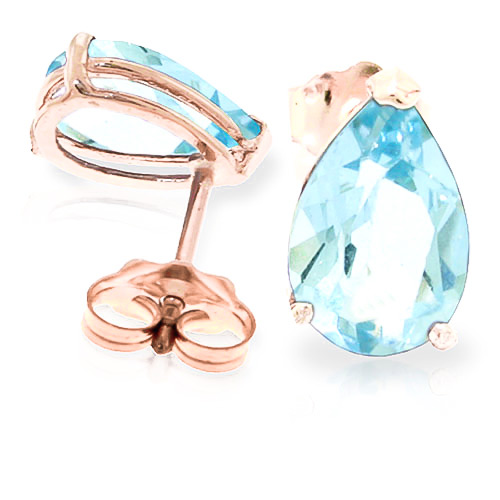 Aquamarine Stud Earrings 3.15 ctw in 9ct Rose Gold