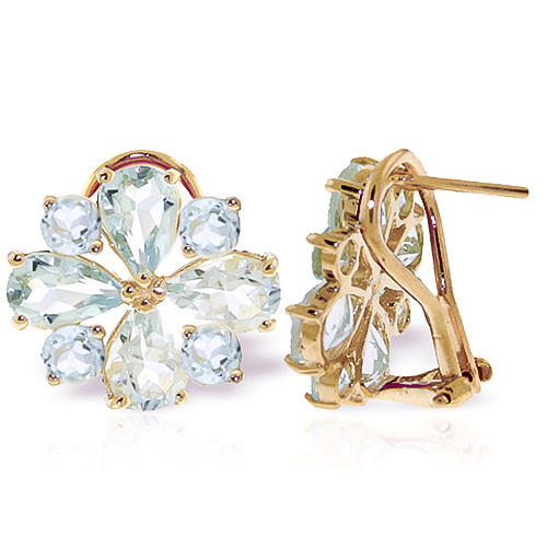 Aquamarine Sunflower Stud Earrings 4.85 ctw in 9ct Gold