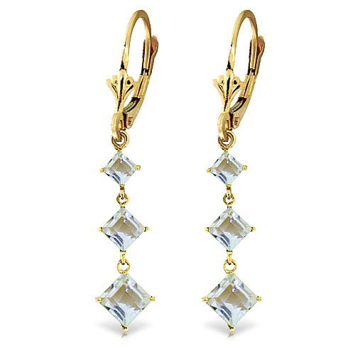 Aquamarine Three Stone Drop Earrings 4.79 ctw in 9ct Gold