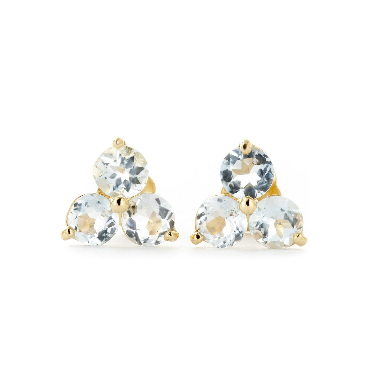 Aquamarine Trinity Stud Earrings 1.5 ctw in 9ct Gold