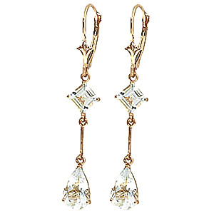 Aquamarine Two Tier Drop Earrings 3.75 ctw in 9ct Gold