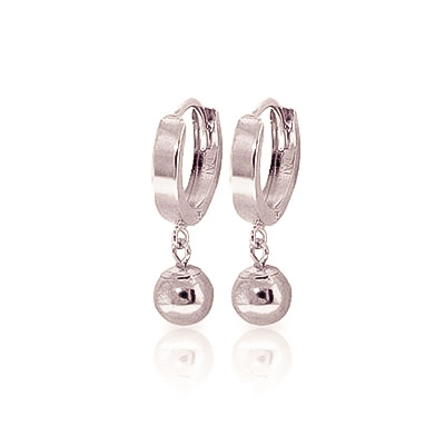 Ball Huggie Earrings in 9ct White Gold