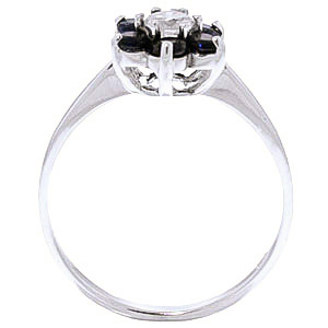 Black Diamond & Sapphire Wildflower Cluster Ring in 9ct White Gold