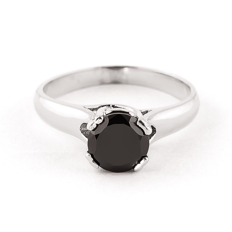Black Diamond Solitaire Ring in 18ct White Gold