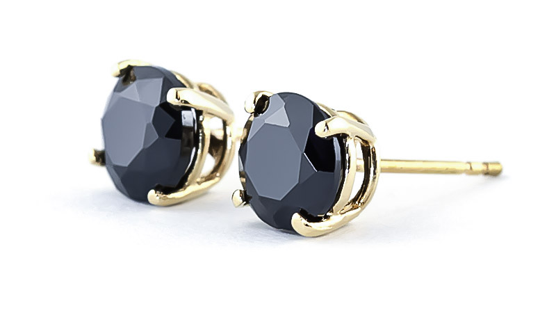 Black Diamond Stud Earrings 2 ctw in 9ct Gold