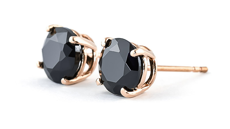 Black Diamond Stud Earrings 2 ctw in 9ct Rose Gold