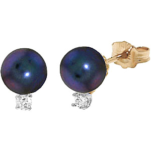 Black Pearl & Diamond Stud Earrings in 9ct Gold