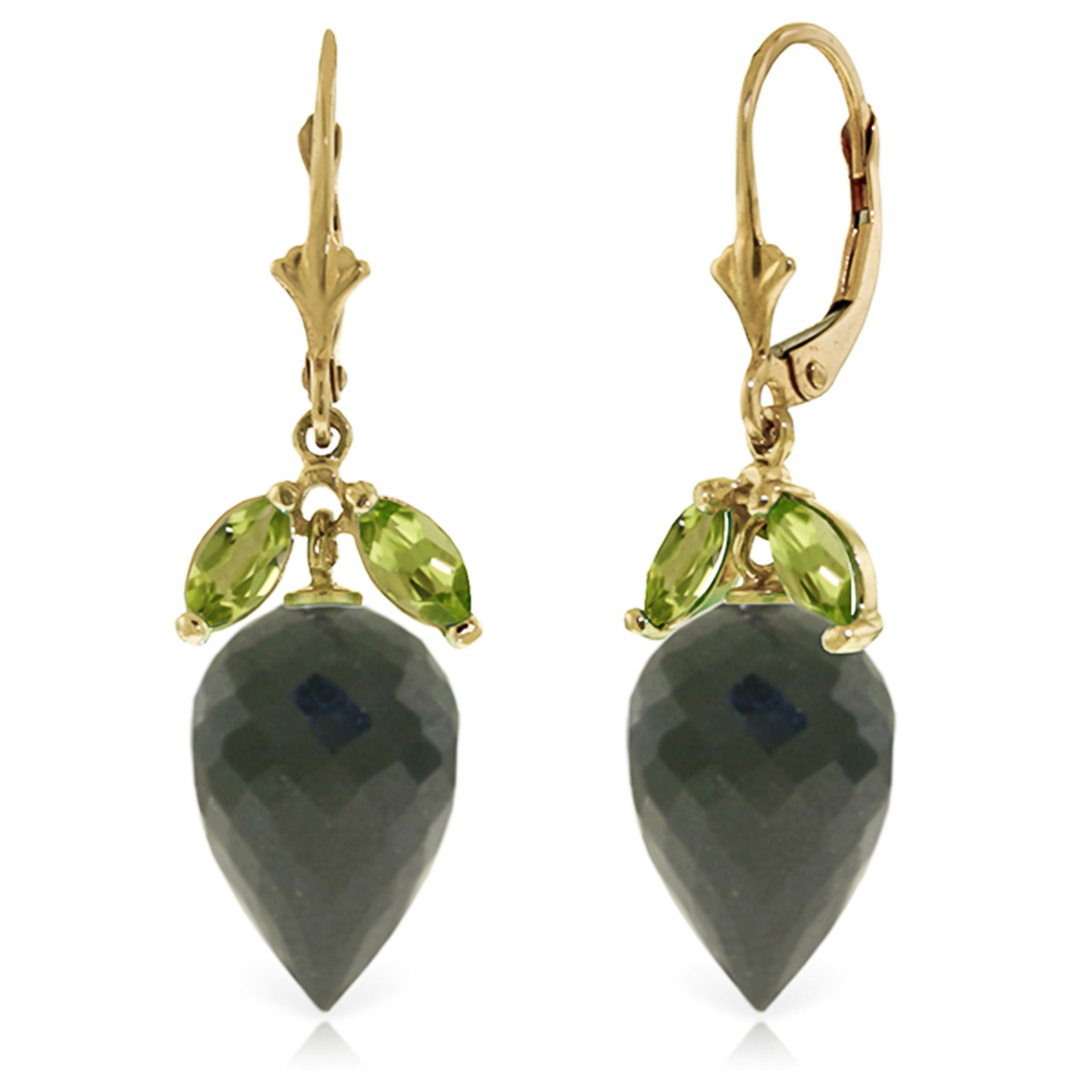 Black Spinel & Peridot Drop Earrings in 9ct Gold