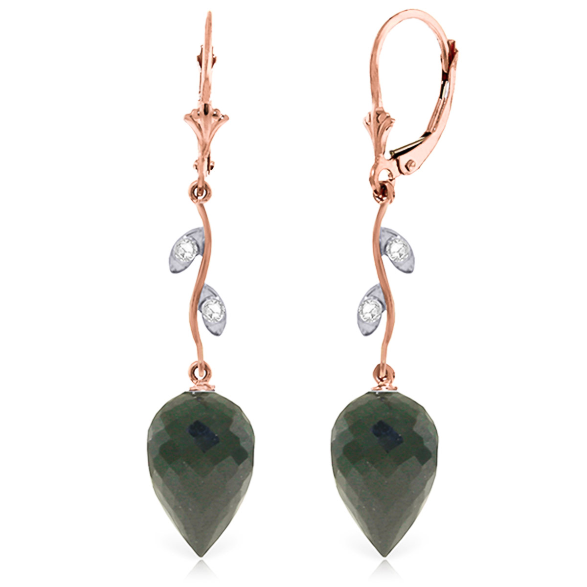 Black Spinel Drop Earrings 24.52 ctw in 9ct Rose Gold