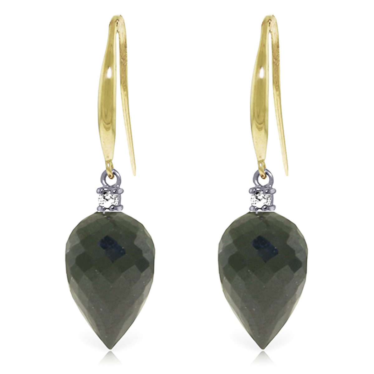 Black Spinel Drop Earrings 24.6 ctw in 9ct Gold