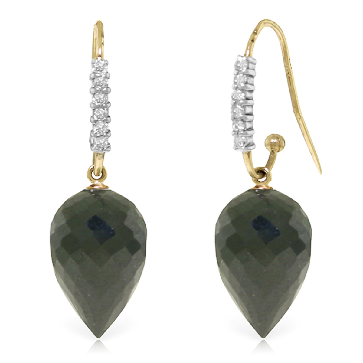 Black Spinel Drop Earrings 24.68 ctw in 9ct Gold