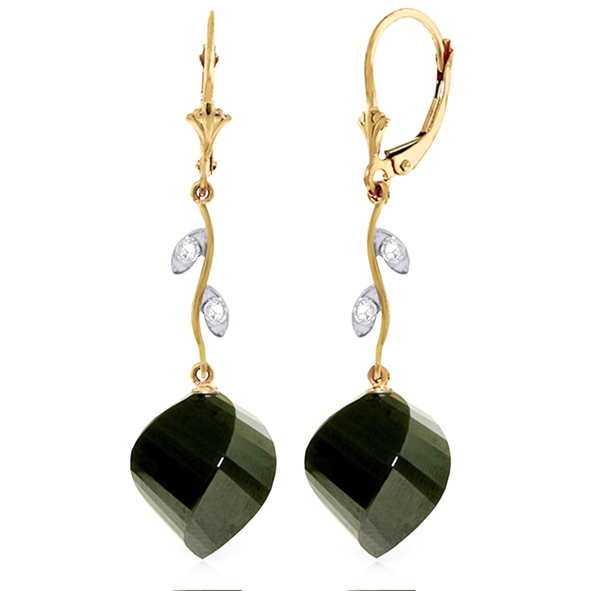 Black Spinel Drop Earrings 31.02 ctw in 9ct Gold