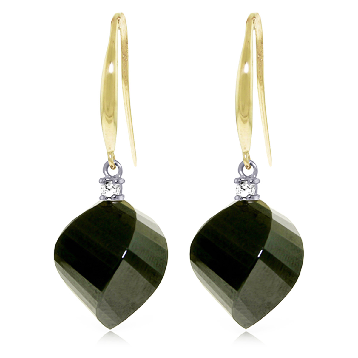 Black Spinel Drop Earrings 31.1 ctw in 9ct Gold
