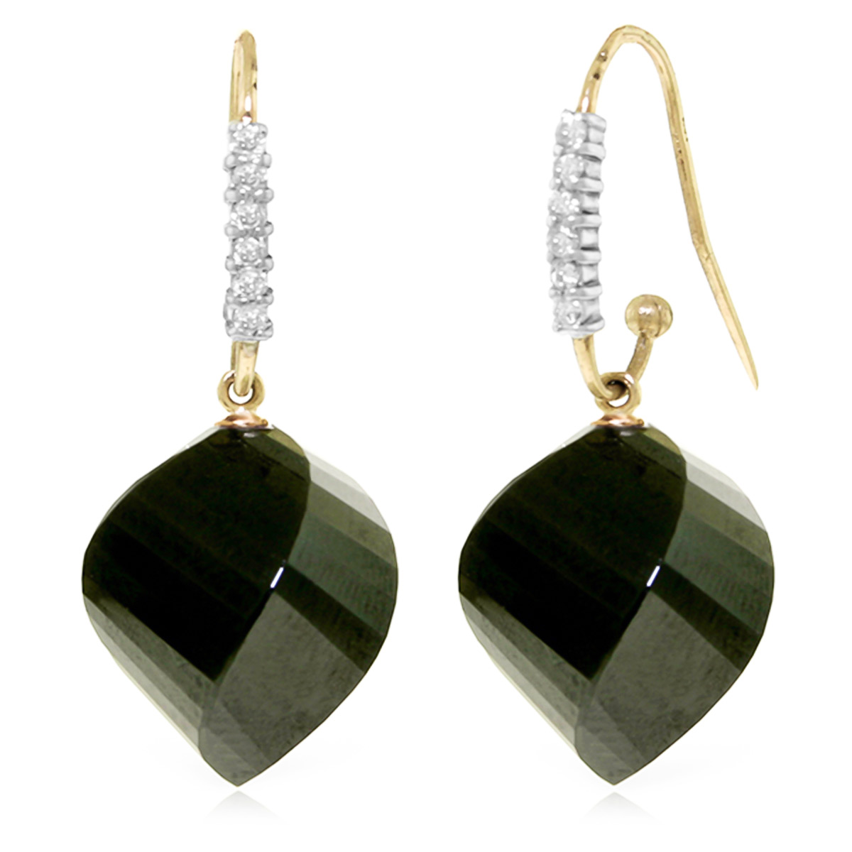 Black Spinel Drop Earrings 31.18 ctw in 9ct Gold