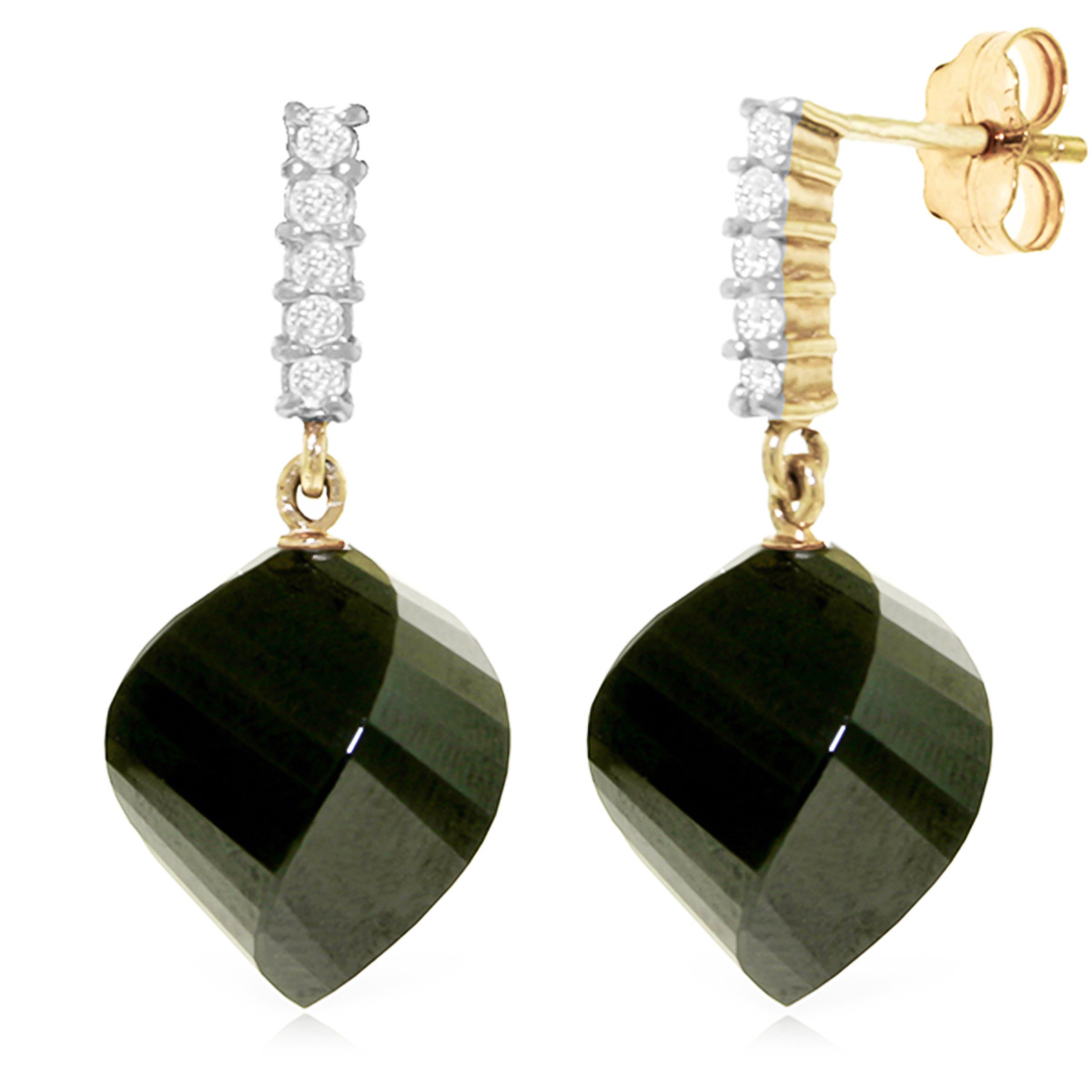 Black Spinel Stud Earrings 31.15 ctw in 9ct Gold