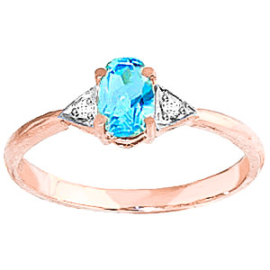 Blue Topaz & Diamond Allure Ring in 9ct Rose Gold