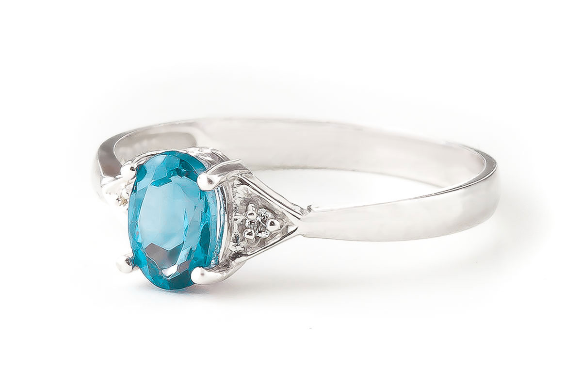 Blue Topaz & Diamond Allure Ring in 18ct White Gold