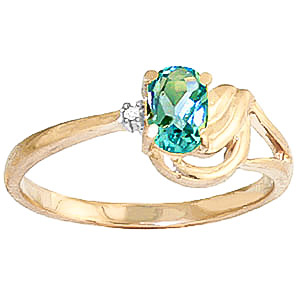 Blue Topaz & Diamond Angel Ring in 18ct Gold