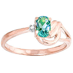 Blue Topaz & Diamond Angel Ring in 9ct Rose Gold