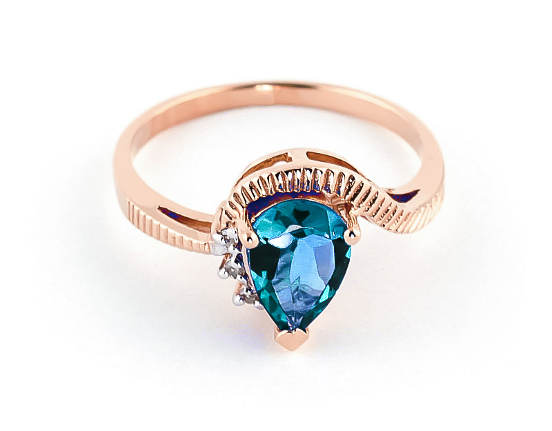 Blue Topaz & Diamond Belle Ring in 9ct Rose Gold