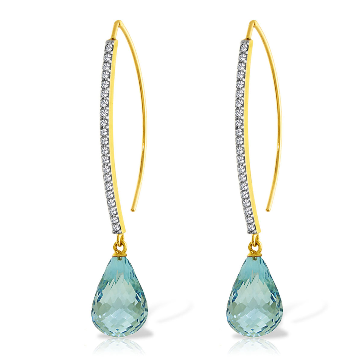 Blue Topaz & Diamond Briolette Drop Earrings in 9ct Gold