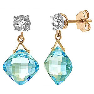Blue Topaz & Diamond Deflection Stud Earrings in 9ct Gold