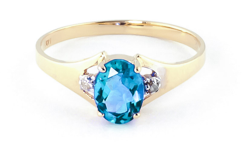 Blue Topaz & Diamond Desire Ring in 18ct Gold