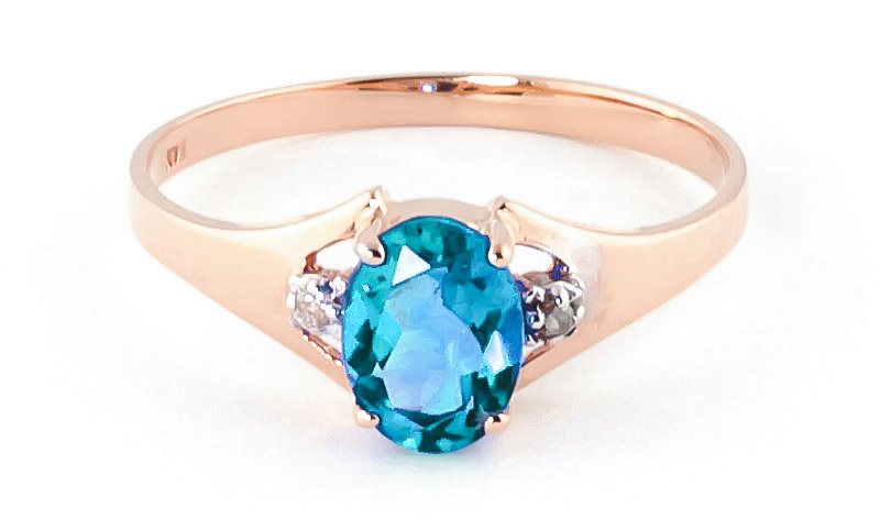 Blue Topaz & Diamond Desire Ring in 9ct Rose Gold
