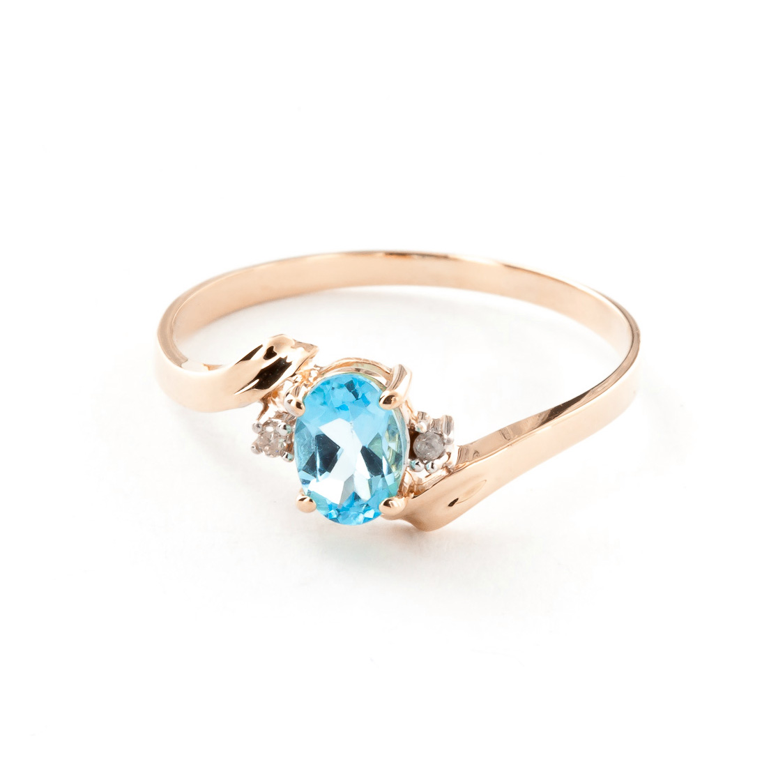 Blue Topaz & Diamond Embrace Ring in 9ct Rose Gold