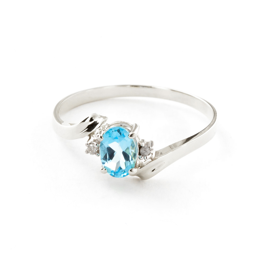 Blue Topaz & Diamond Embrace Ring in 9ct White Gold