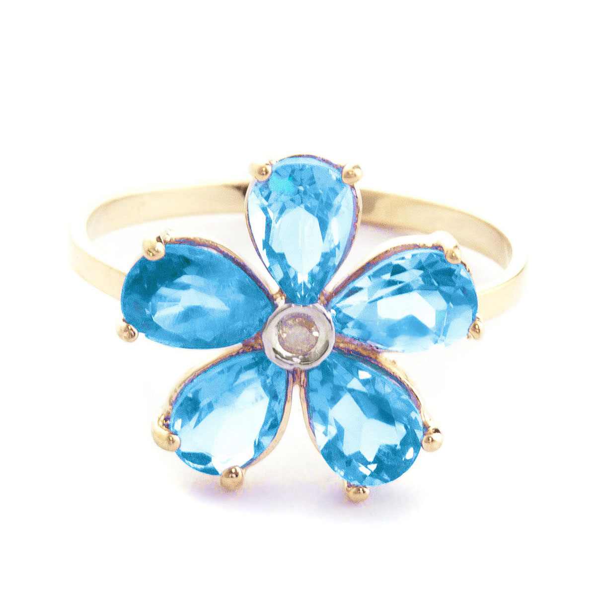 Blue Topaz & Diamond Five Petal Ring in 9ct Gold