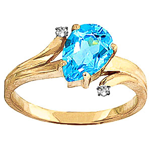 Blue Topaz & Diamond Flank Ring in 9ct Gold